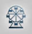 ferris wheel sign  blue icon with outline vector image