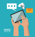 colorful poster of mobile devices with hands vector image