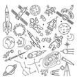doodle different universe elements planets sun vector image