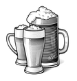engraved beer glasses vector image vector image