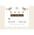 RSVP Wedding card gold love bird theme vector image