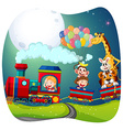 girls and animals on train vector image vector image