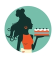 Beautiful baker holding freshly baked cake vector image vector image