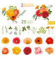 Vintage Flowers and Leaves - in Watercolor Style vector image