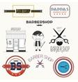 barbershop elements and badges vector image