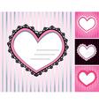 set of 4 hearts shape lace doily on stripe backgro vector image