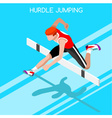 Athletics Hurdle Jump 2016 Summer Games 3D vector image