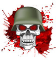 abstract image of a human skull in an army helmet vector image