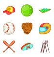baseball stuff icons set cartoon style vector image