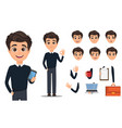 business man cartoon character creation set young vector image