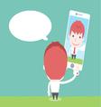 Businessman take selfie cartoon business vector image