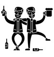 drunk people two men drinking icon vector image