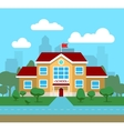 flat of school building for vector image