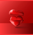 two shiny 3d hearts red purple volume vector image