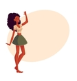 Young barefooted african american woman dancing vector image