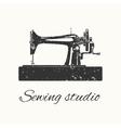 sewing studio emblem vector image vector image