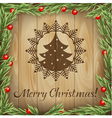 Christmas fir-tree wood background vector image