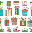 seamless pattern of gift packages Christmas gifts vector image