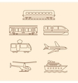 Transportation icons of tram subway train airplane vector image