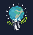 poster green energy with a globe in the light bulb vector image
