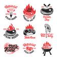 set of steak house butchery shop emblems with vector image