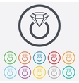 Jewelry sign icon Ring with diamond symbol vector image