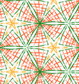 Rough brush green and orange checkered triangles vector image