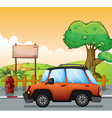 An orange car along the street with a wooden vector image
