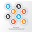 document icons set collection of ico audio file vector image