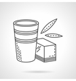 Glass and organic juice flat line icon vector image