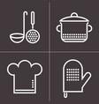 kitchen elements on dark background vector image