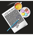 labyrinth game with lemon tea and macaroons vector image