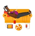 Man with gadgets lying on sofa vector image