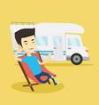 man sitting in chair in front of camper van vector image