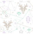 hipster deer pattern vector image vector image