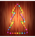 Christmas lights as fir tree holiday concept vector image vector image