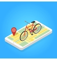 Isometric of phone map bicycle vector image