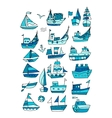 Set of ships sketch for your design vector image vector image
