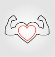 A heart with flexing muscles- Healthy heart vector image