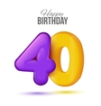 Birthday greeting card template with glossy vector image