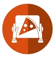 hand delivery box pizza shadow vector image