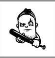 hand drawn sketch of a gangster with baseball bat vector image