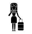 travel woman making photo icon vector image