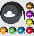 Woman hat icon sign Symbols on eight colored vector image