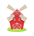 Red Wooden Windmill Cartoon Farm Related Element vector image