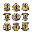 set of colorful logos emblems face bearded vector image