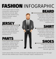 fashion infographic with hipster man vector image vector image