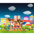 Family riding bike vector image vector image