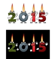 Lighted candle numbers 2015 vector image