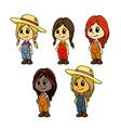 girl mascot vector image vector image